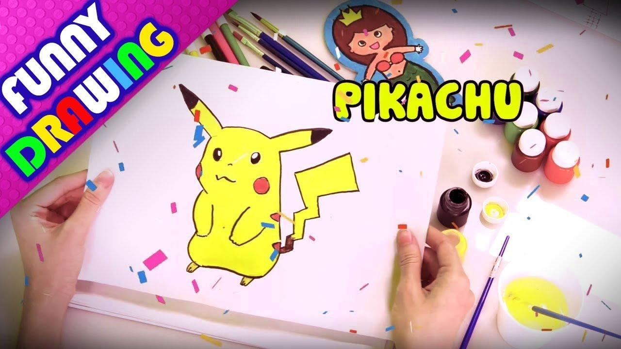 DIY - How to draw a PIKACHU step by step easy - Dạy bé vẽ và tô màu PIKACHU