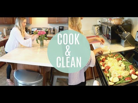 COOK AND CLEAN WITH ME 2018!   EASY SHEET PAN RECIPE   TEAM DARLEY & ERIN KATE