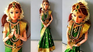Barbie saree draping | South indian bridal doll/jewellery| How to drape a saree perfectly for barbie