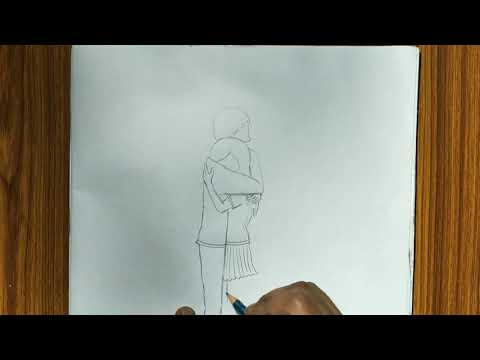 Hugging Couple Pencils Sketch Drawing/step By Step Hugging Couple Drawing