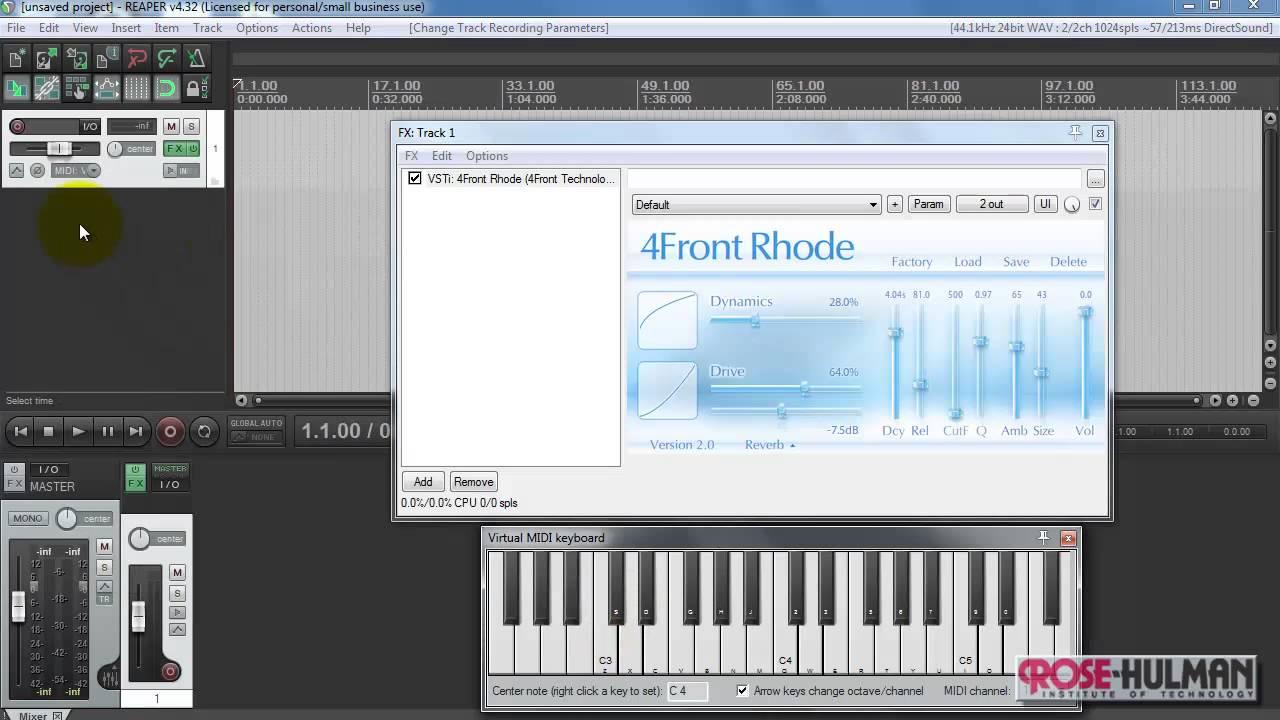 REAPER tutorial: Play VSTi instrument live from keyboard