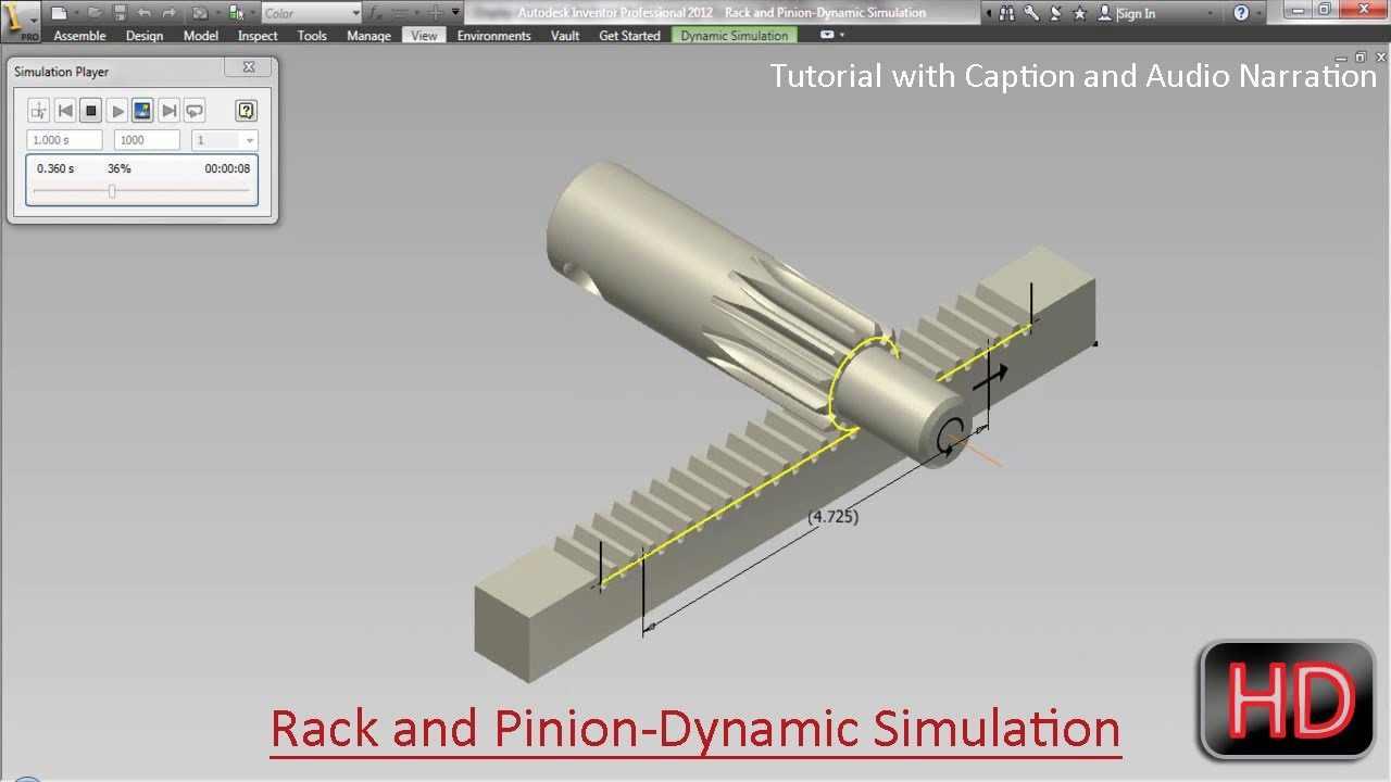 Rack And Pinion Dynamic Simulation Video Tutorial With