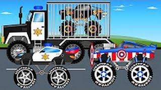 Полицейский Монстр Трак и Черный Трак - Грузовики для Детей - Детский Мультфильмы