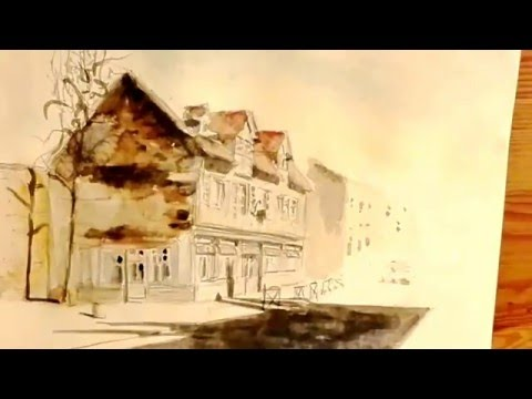 watercolor painting landscape quick sketch french Normandy house