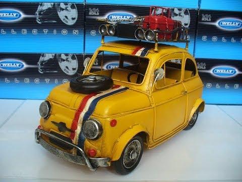 Blikken auto fiat 500 geel modelauto schaalmodel miniatuur van blik tin ter decoratie youtube - Decoratie geel ...