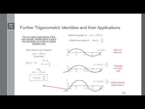 Video 23 - Further Trigonometric Identities - Writing expressions as a single sin or cos function