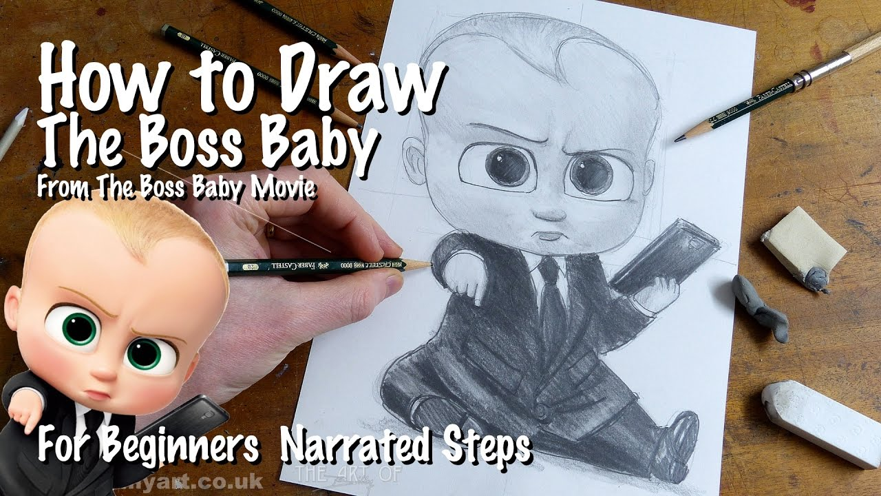 How to draw the boss baby voiced by alec baldwin for art beginners