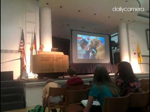Pamela Reid talks about evaluating animal cruelty victims at the Animal Behavior Society meeting at