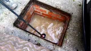 How to clear a blocked pan.Or drain.(See how to clear the blockage yourself and save pounds on expensive drain clearing firms. To see how to lift the drain cover take this link., 2012-12-02T14:17:27.000Z)