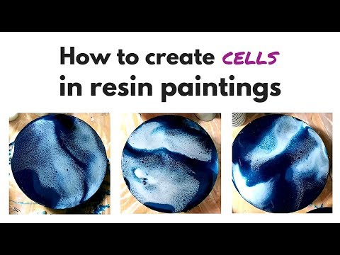 Using chemical additives to get cells in resin paintings
