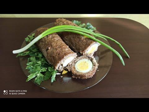 Удачная ЗАКУСКА. Очень вкусный рулет из фарша с яйцами в духовке.