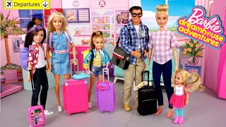 Barbie Family Vacation - Airplane Travel Routine Dreamhouse Adventures