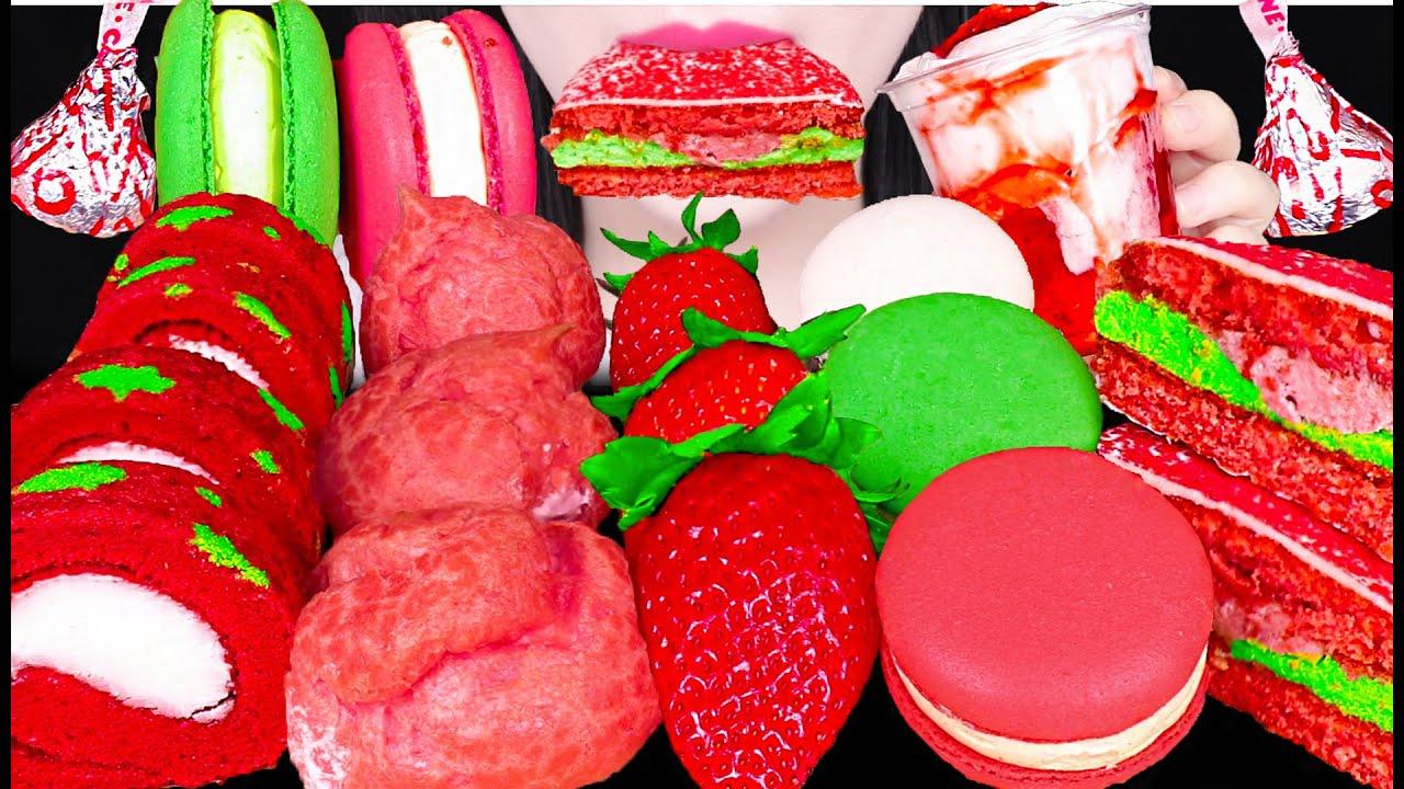 ASMR STRAWBERRY PARTY *STRAWBERRY CHOU, CHRISTMAS CAKE, STRAWBERRY PARFAIT 딸기 파티 먹방 EATING SOUNDS