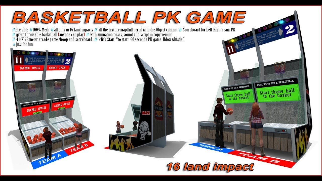 Basketball PK game for second life