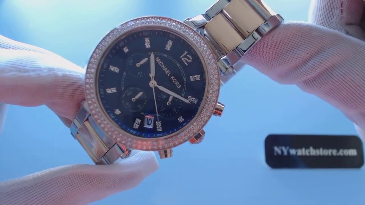 685cc063496 Women s Michael Kors Parker Chronograph Glitz watch MK6141 - YouTube