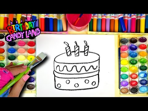 Thumbnail: Learn Colors for Kids and Hand Color Watercolor Birthday Cake Coloring Pages