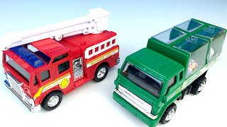ADVENTURE WHEELS TRUCK CAMION WITH MIGHTY MACHINES FIRE TRUCK RECYCLING TRUCK & BALE LOADER