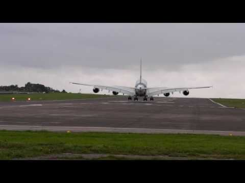 Airbus A380 Lands At Filton Airfield In Bristol