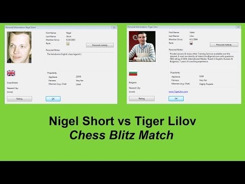 GM Nigel Short vs IM Valeri Lilov Chess Blitz On Playchess  Game 1