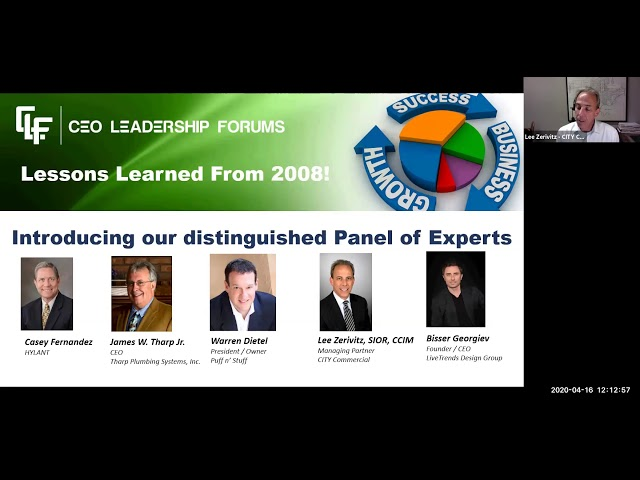 CEO Leadership Forums April 16, 2020 Webinar