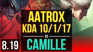AATROX vs CAMILLE (TOP) | KDA 10/1/17, Godlike | Korea Challenger | v8.19
