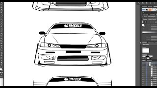 HOW TO DRAW A NISSAN S14 IN ADOBE ILLUSTRATOR