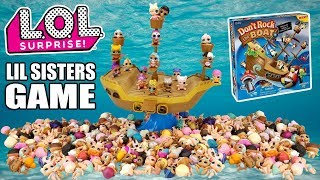LOL Surprise Lil Sisters + Don't Rock the Boat Pirate Ship Balance Game | L.O.L. Lil Sis All Series