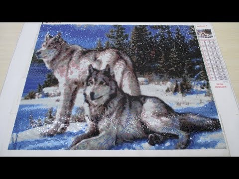 Посылка из Китая (картина волки, алмазная вышивка).
