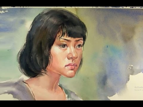 Watercolor Portrait Painting : Short Hair Girls