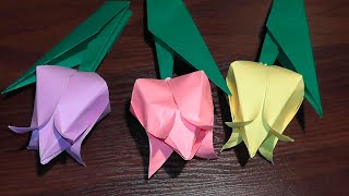 Origami tulip from paper (a flower) master class