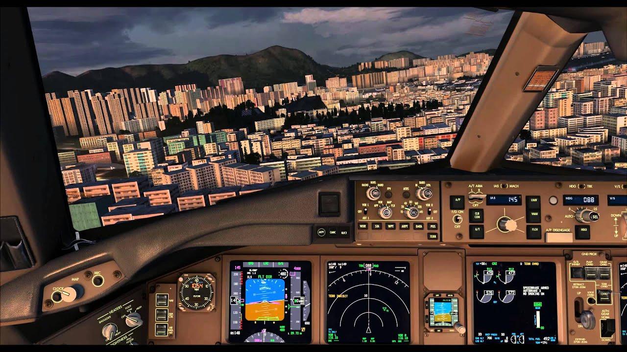 Fsx Wallpaper Hd Fsx Pmdg 777 Approach And Landing At Kai Tak Airport