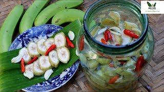 🌿MTVV🌿 ||Cách làm CHUỐI NGÂM CHUA NGỌT để ăn kèm ốc luộc, làm mồi nhâm nhi, cắt chuối vườn nhà