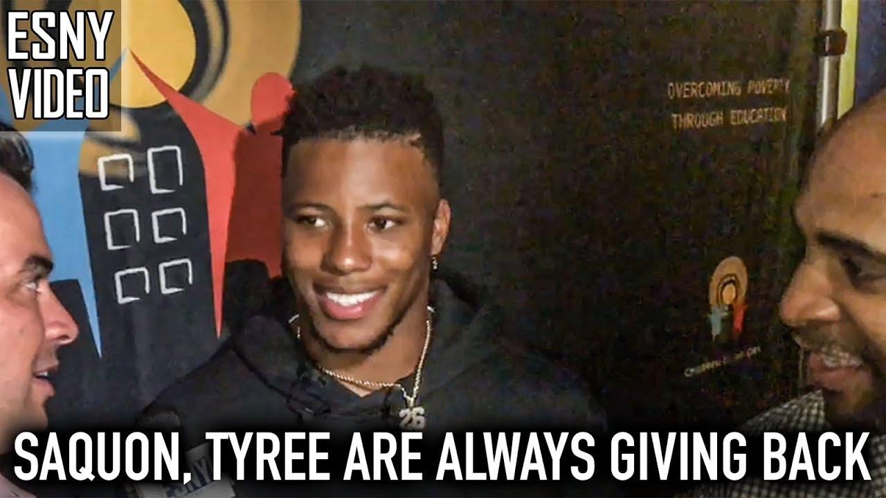 New York Giants RB Saquon Barkley looks up to David Tyree
