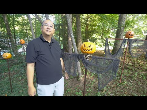 Our DIY Thrift Store Pumpkin Scarecrow Army Halloween Yard Decorations