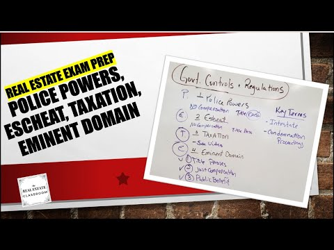 (P.E.T.E.)  Police Powers, Escheat, Taxation, Eminent Domain | Real Estate Exam Prep Videos