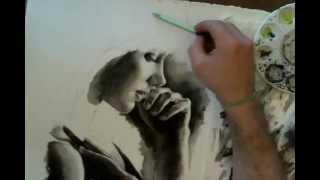 Time lapse watercolor portrait painting by Ben DeLuca