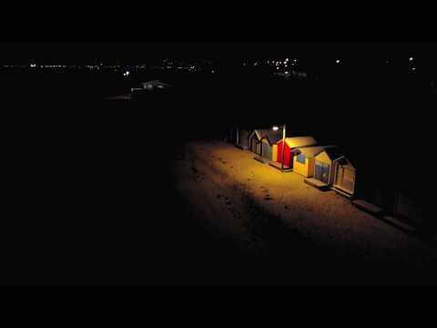 Brighton Beach Boxes at Night