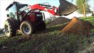 Dump Truck Unloading Dirt Farmall Case IH 60 Tractor Moving Dirt with Front End Loader Video How to