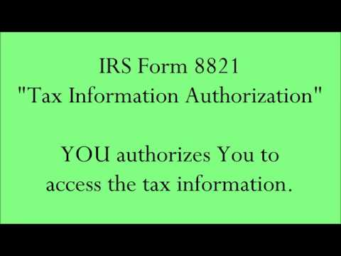 Irs Form 8821 You Authorizes You Youtube