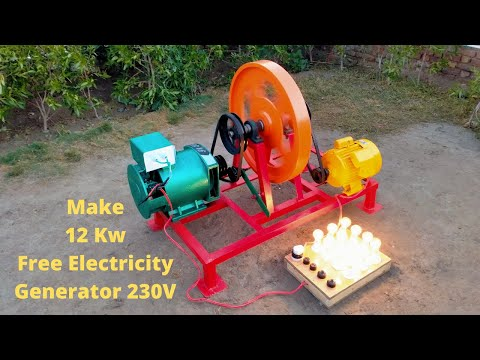 Make 12 Kw Free Energy From 12Kw Alternator And 3 Hp Motor Free Electricity Generator 230V
