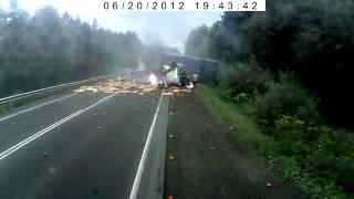 Трасса М5 ДТП из-за отказа тормозной системы 20.06.2012