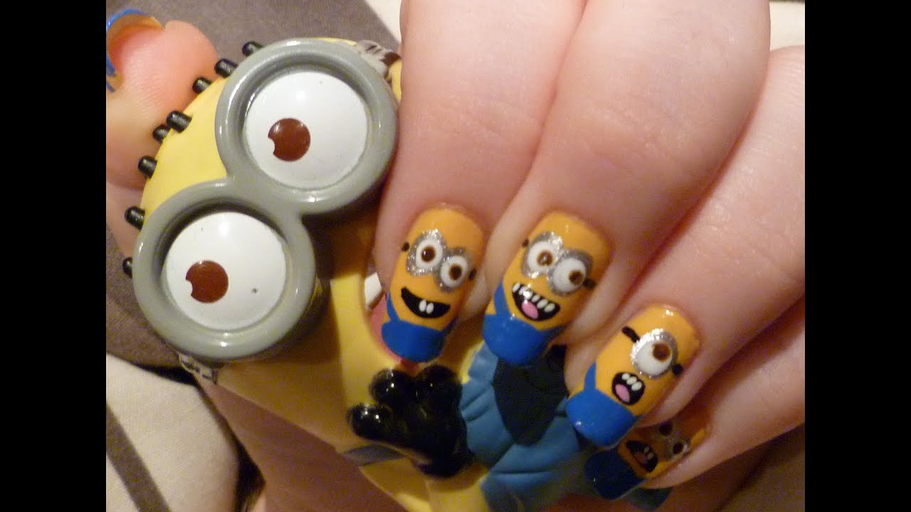 Despicable Me Minion Nail Art Tutorial - YouTube
