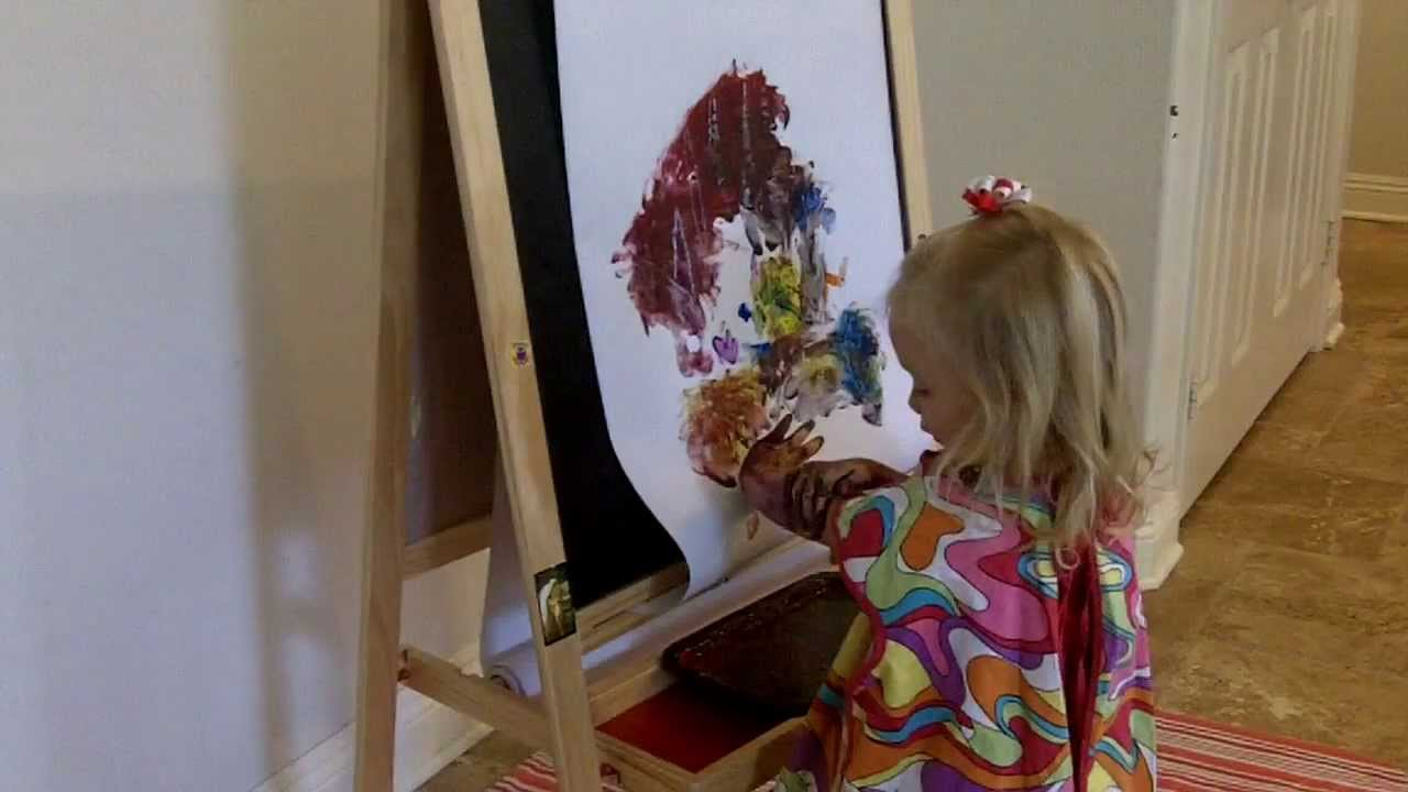 Finger Painting On Her Ikea Easel Youtube