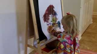 Finger Painting On Her Ikea Easel
