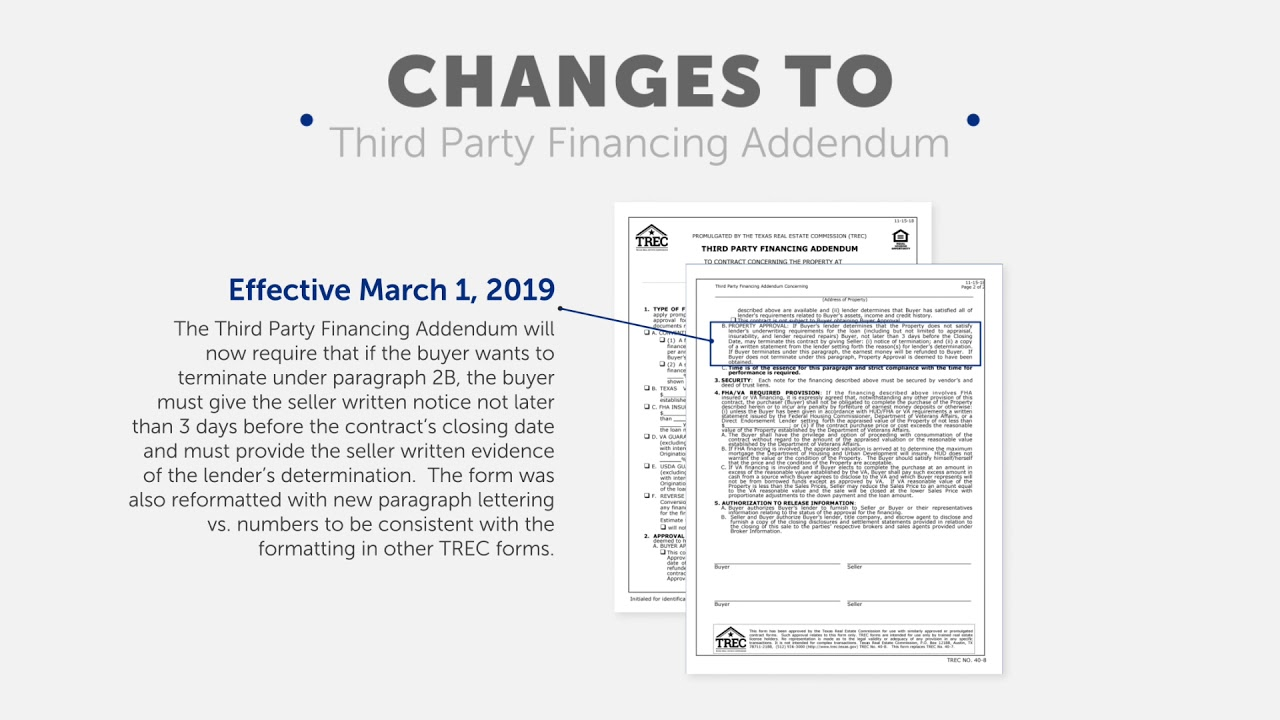 TX TREC Contract Changes 2019