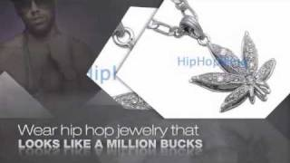 Marijuana Leaf Rhodium Iced Out Pendant Figaro Hip Hop Chain