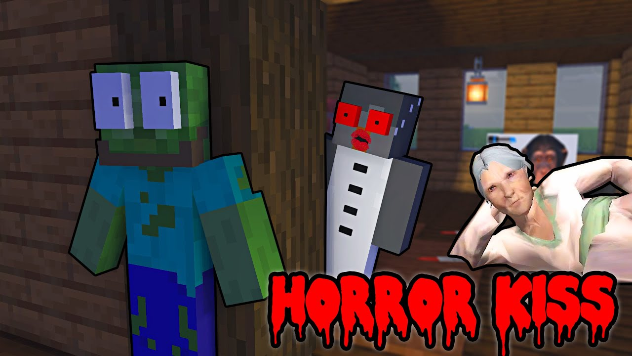 Monster School : HORROR KISS CHALENGE - Minecraft Animation