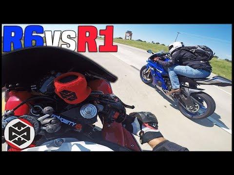 Yamaha R6 Vs R1 - RACE! **he Hit 170mph**