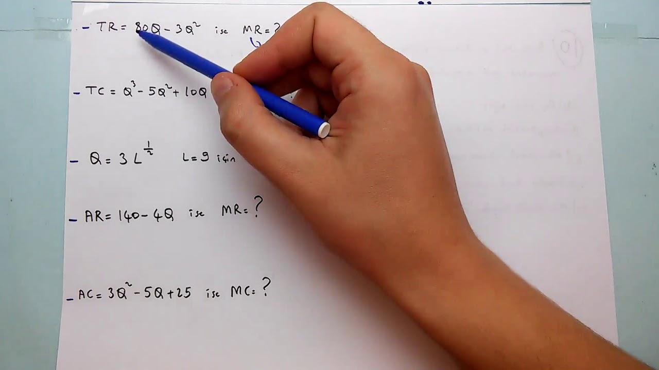 Aof Matematiksel Iktisat Ornek Soru Cozumleri Turev Youtube