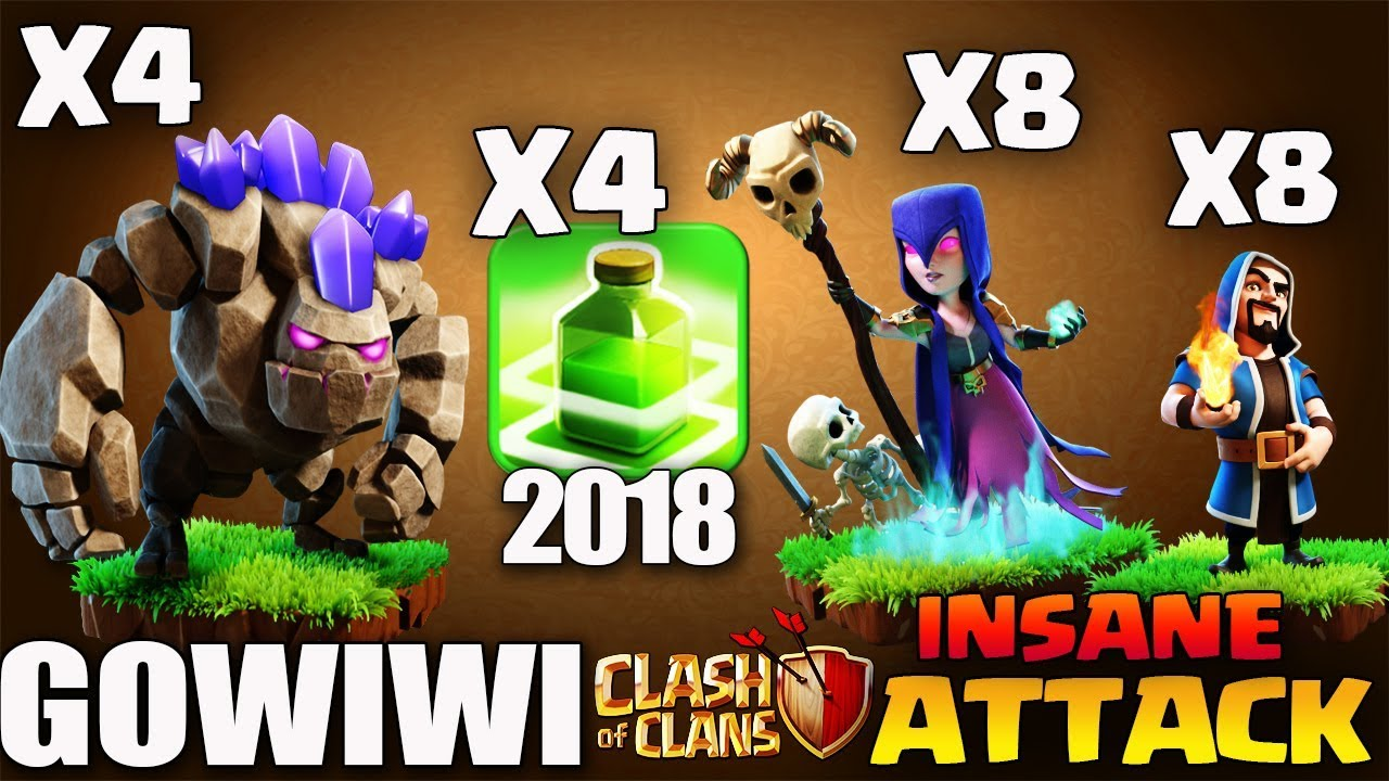 Download GOLEM + WIZ + WITCH : GOWIWI | GOLEM RUSH NEW TH9 WAR ATTACK STRATEGY 2018 | Clash of Clans